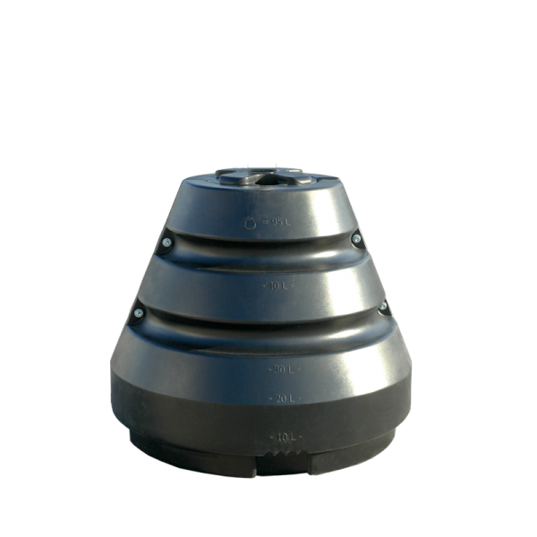 Conical water tank pole holder